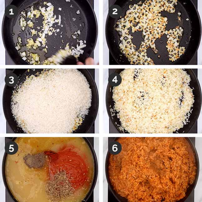 Step-by-step photos of how to make Spanish rice and beans