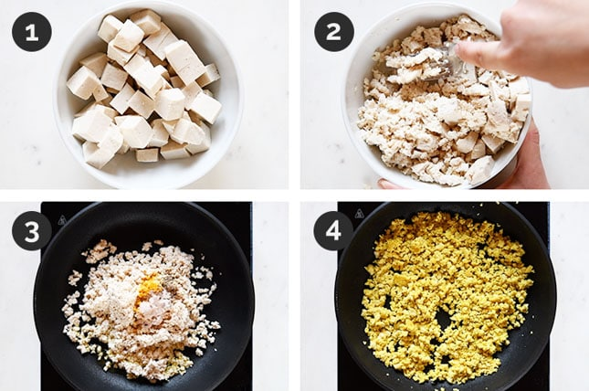 Step by step photos of how to make tofu scramble