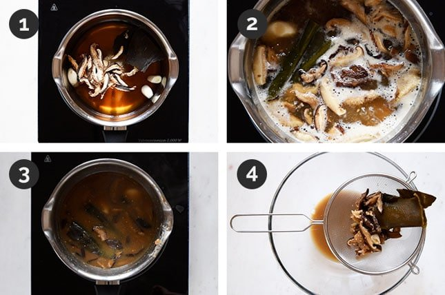 Step by step photos of how to make vegan fish sauce