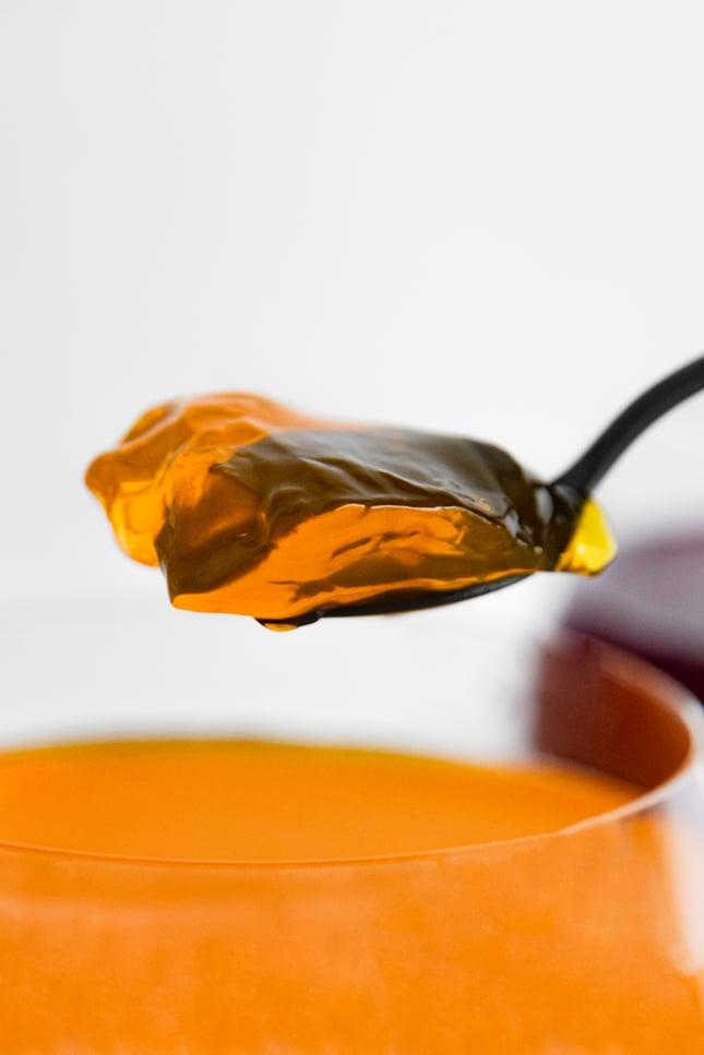 Photo of a spoonful of vegan jello