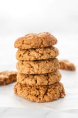 Photo of a pile of some homemade vegan oatmeal cookies