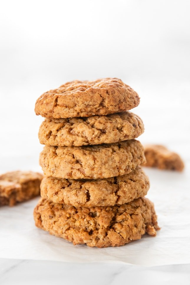 Photo of a pile of some vegan oatmeal cookies