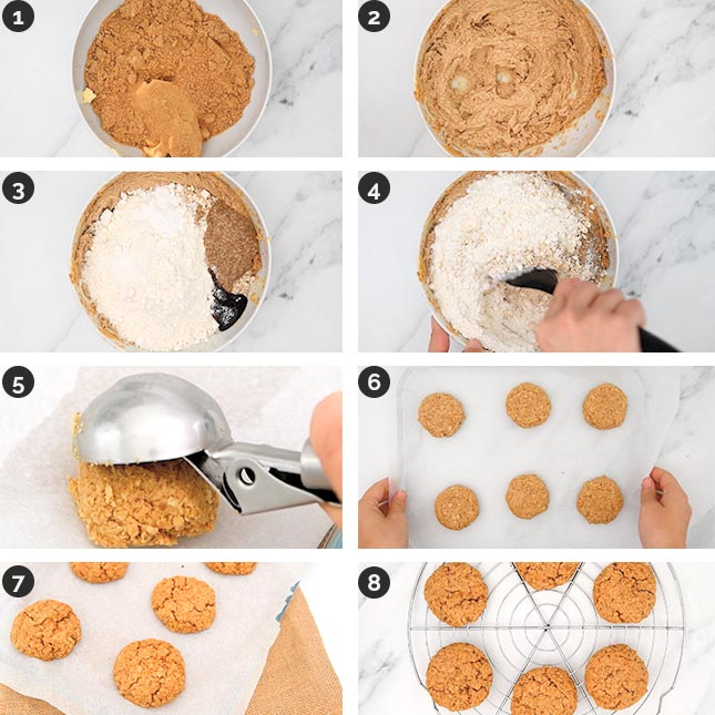 Step-by-step photos of how to make vegan oatmeal cookies