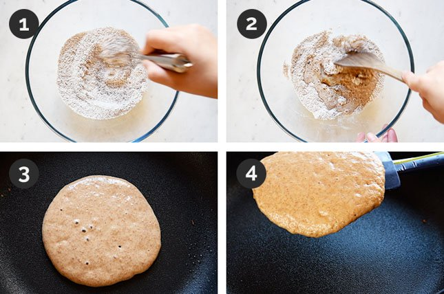 Step by step photos of how to make vegan pancakes