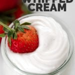 Photo of a jar of vegan whipped cream with the words vegan whipped cream