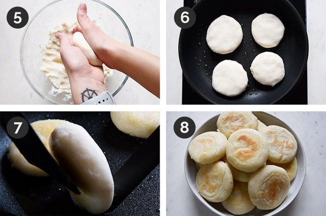 Photo of the last 4 steps of how to make arepas