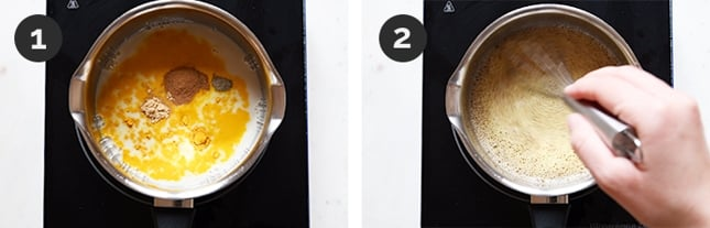 2 shots of how to make golden milk step by step