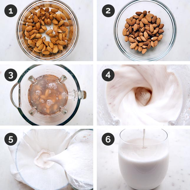 Step-by-step photos of how to make almond milk