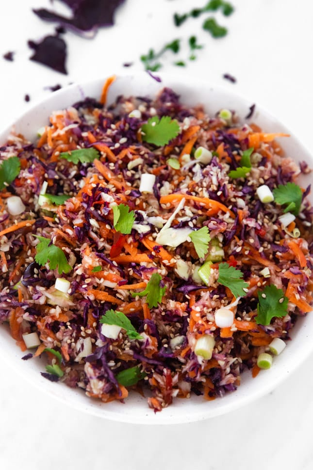 Close-up photo of a bowl of Asian slaw