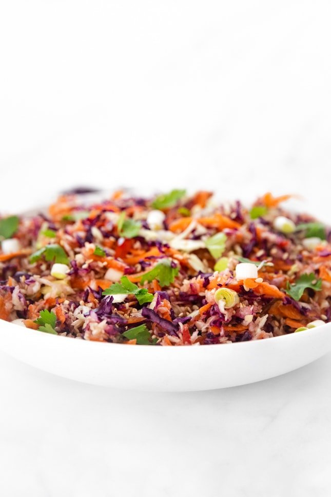 Side photo of a bowl of Asian slaw