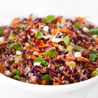 Square photo of a bowl of Asian slaw