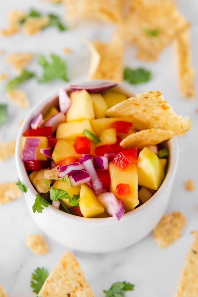 Close-up photo of a bowl of mango salsa