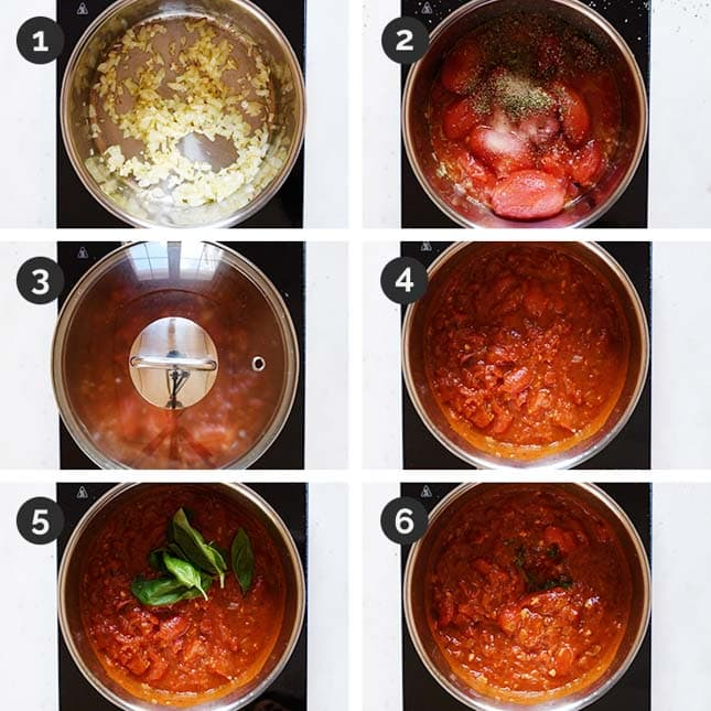 Step-by-step photos of how to make marinara sauce