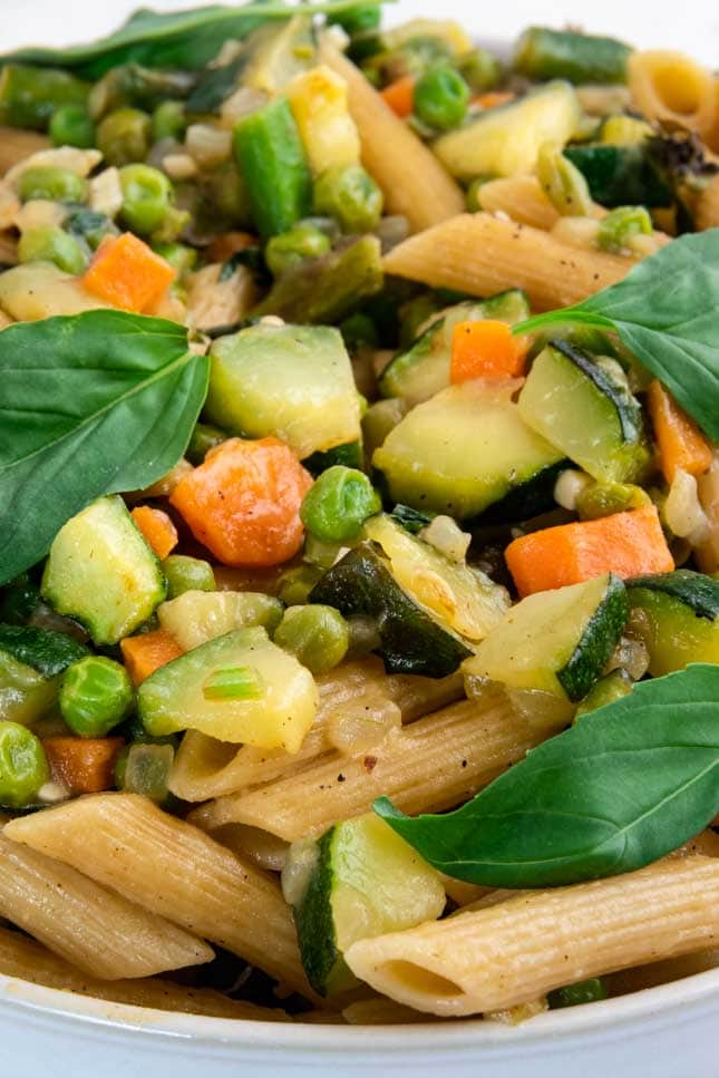 Close-up photo of a plate with pasta primavera