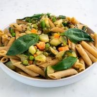 Square photo of a plate with pasta primavera