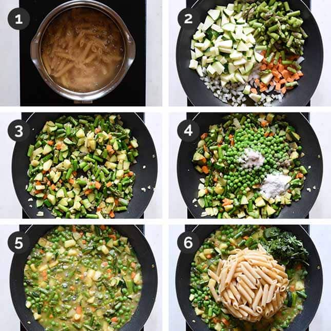 Step-by-step photos of how to make pasta primavera