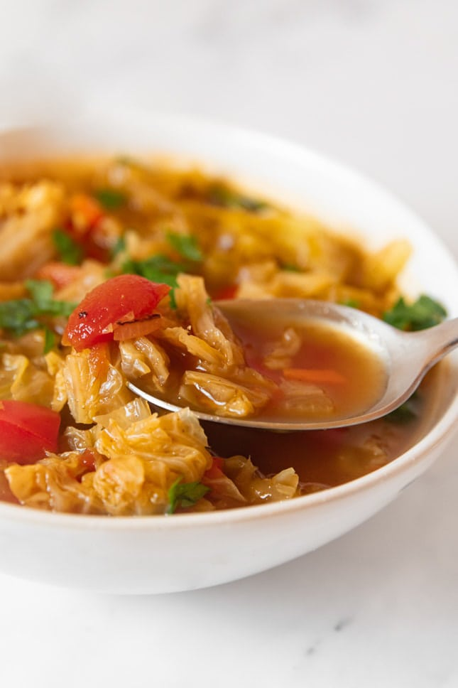 Photo of a bowl of cabbage soup