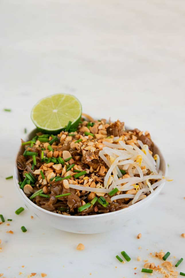 Photo of a bowl of vegan pad thai