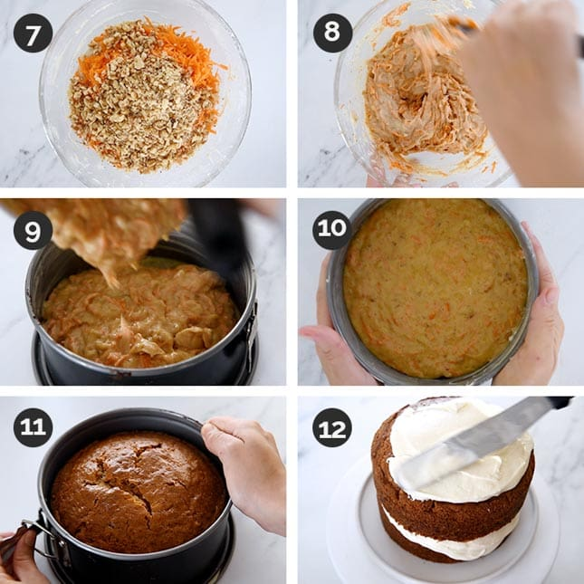 Photo of the last steps of how to make vegan carrot cake