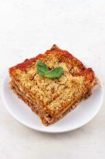Photo of an individual portion of vegan lasagna