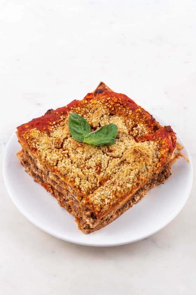 Photo of an individual portion of vegan lasagna