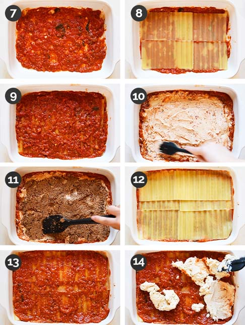 Step-by-step photo of the 8 middle steps of how to make vegan lasagna