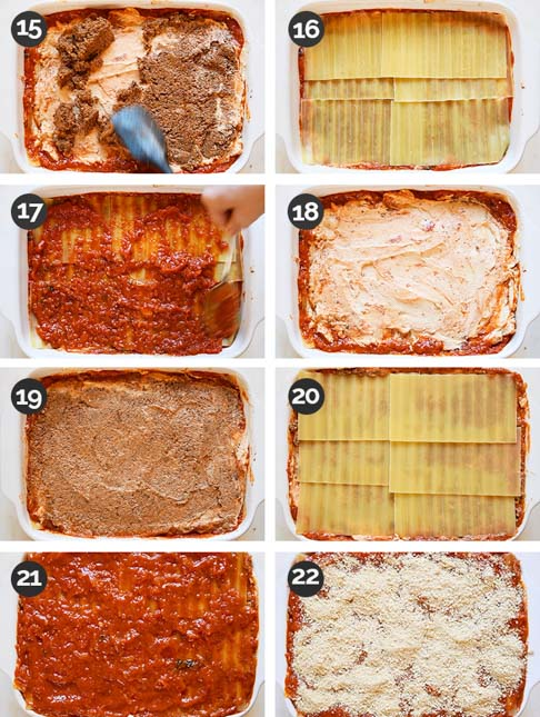 Step-by-step photos of the last 8 steps of how to make vegan lasagna