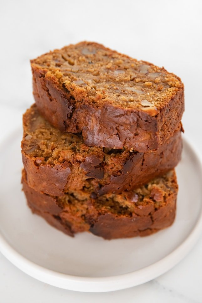 Side photo of some slices of vegan zucchini bread