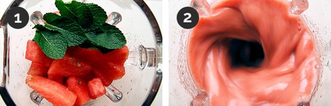 Step-by-step photos of how to make watermelon smoothie