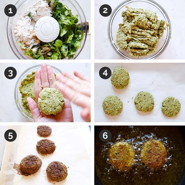 Step-by-step photos of how to make falafel