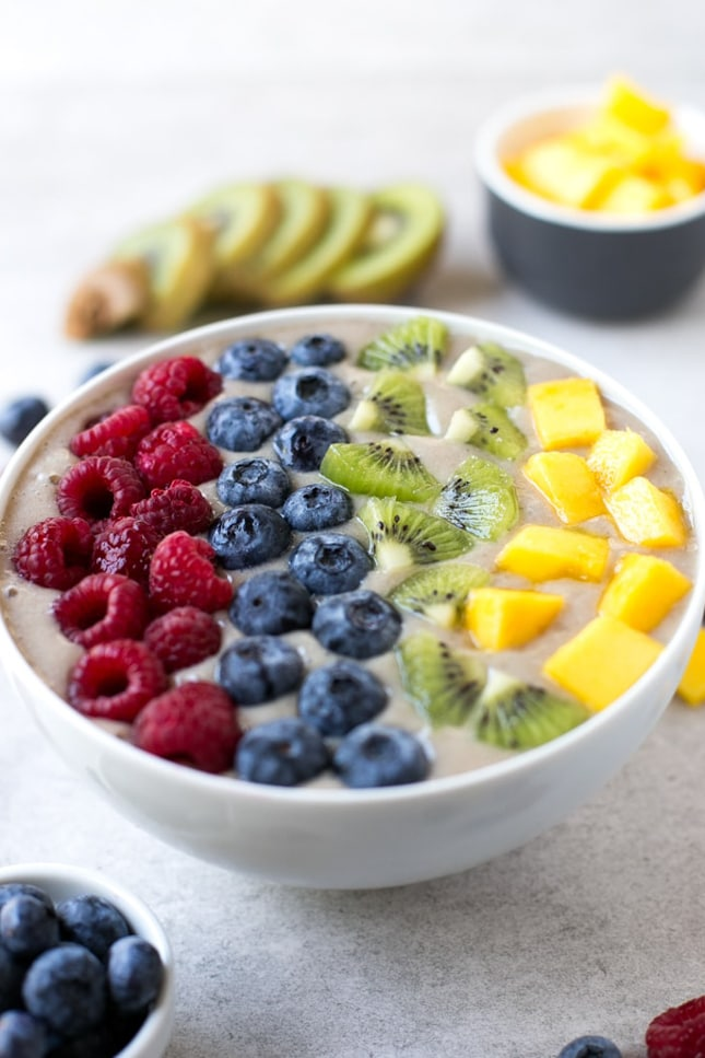 Photo of a rainbow smoothie bowl