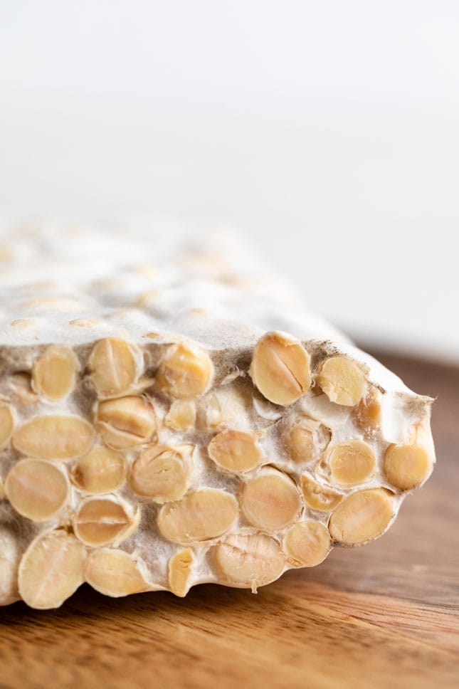 Close-up shot of a block of tempeh