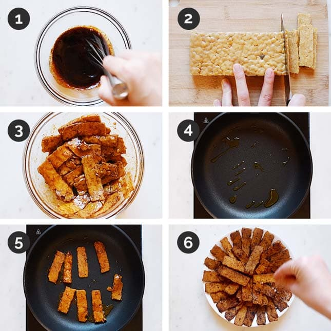 Step-by-step photos of how to make tempeh bacon
