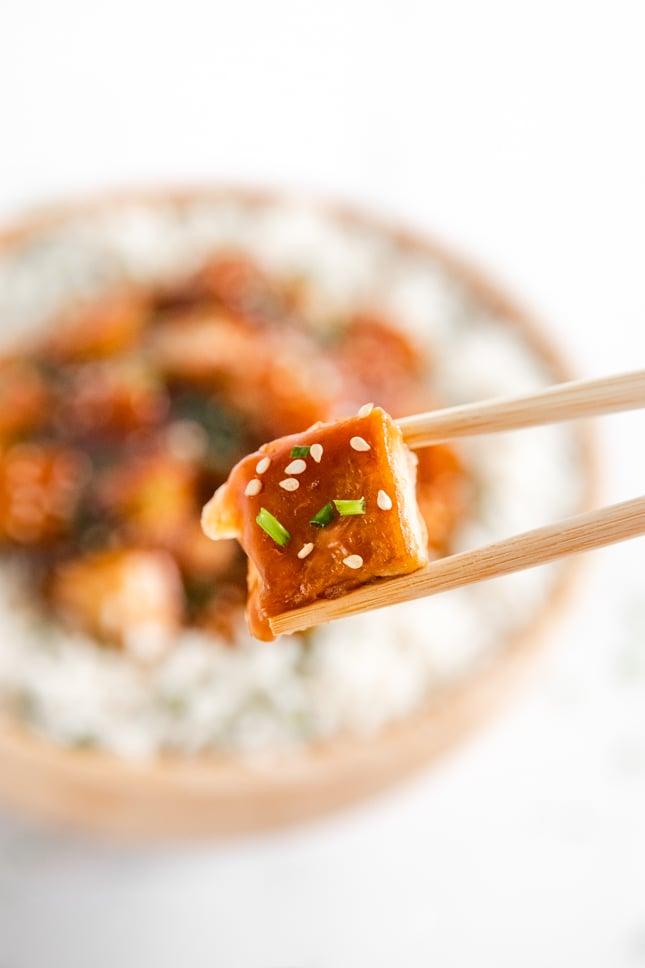 Close-up photo of a piece of teriyaki tofu