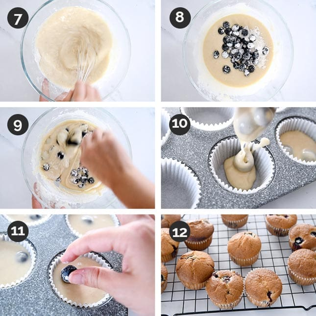 Photo of the last steps of how to make vegan blueberry muffins