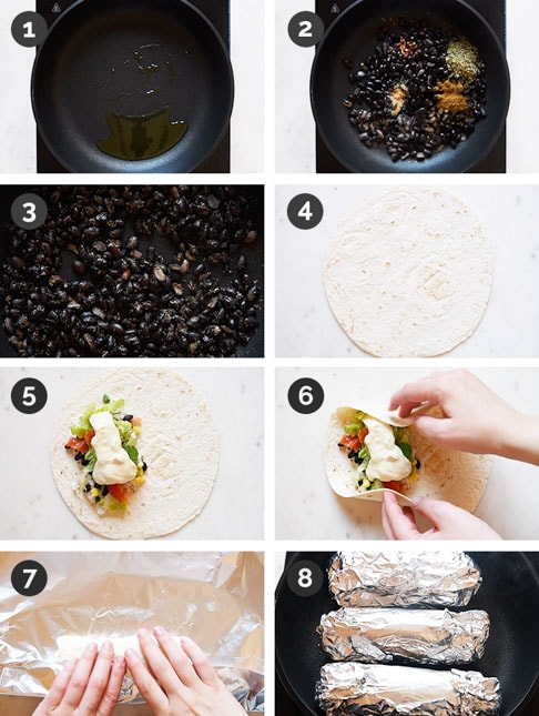 Step-by-step photos of how to make a vegan burrito