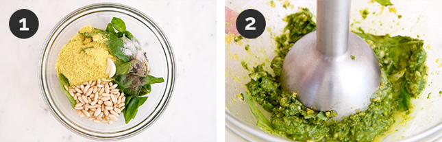 Step-by-step photos of how to make vegan pesto