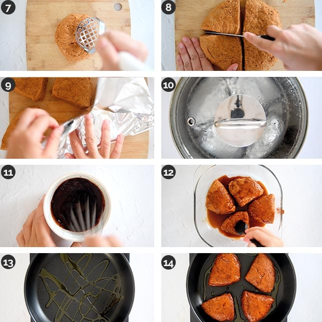 Photo of the last steps of how to make vegan steak