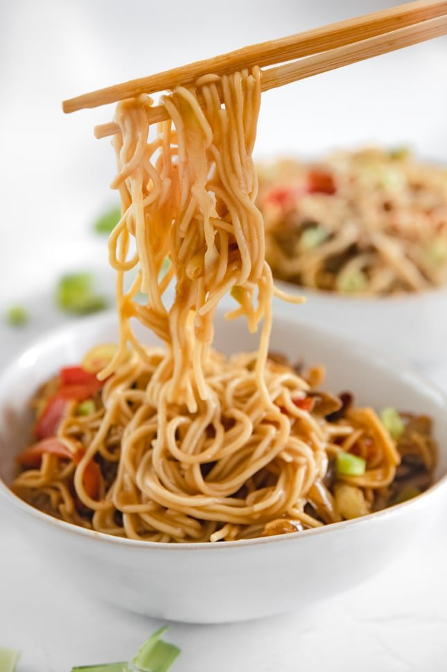 Close-up photo of two chopsticks with a bowl of vegetable chow mein