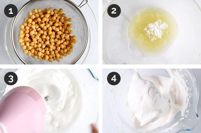 Step-by-step photos of how to make aquafaba