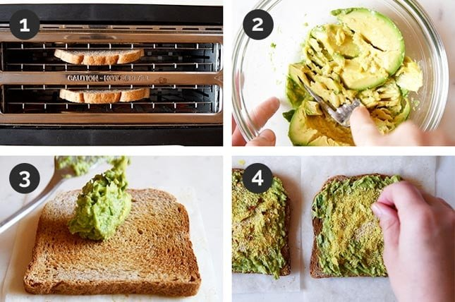 Step-by-step photos of how to make an avocado toast