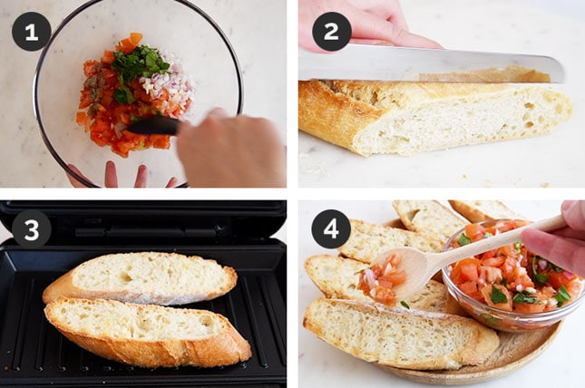 Step-by-step photos of how to make bruschetta