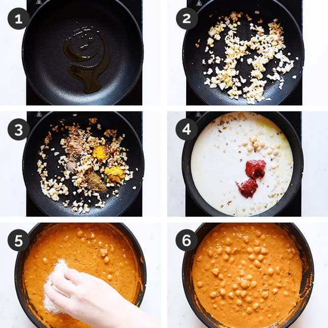 Step-by-step photos of how to make chickpea curry