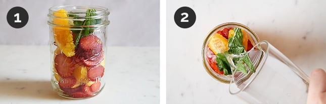 Step-by-step photos of how to make fruit infused water