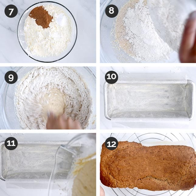 Photo of the last steps of how to make gluten-free banana bread