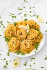 Photo of a plate of lemon pasta