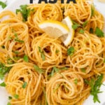 Photo of a plate of lemon pasta with the words lemon pasta
