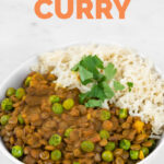 Photo of a bowl of lentil curry with rice with the words lentil curry