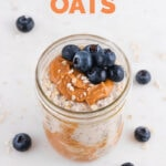Photo of a glass jar of overnight oats with the words overnight oats
