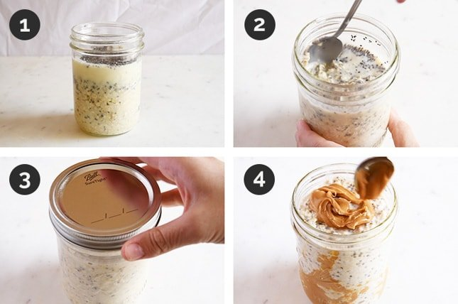 Step-by-step photos of how to make overnight oats